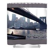 Boy Freighter Brooklyn Bridge Sunset Shower Curtain