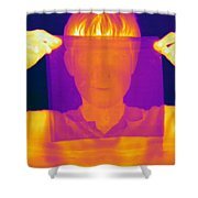 Boy Holding Black Plastic Shower Curtain