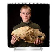 Boy Holding Kodiak Bear Skull Shower Curtain