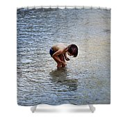 Boy Playing In The Pond Shower Curtain