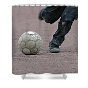 Boy Playing Soccer With A Ball Shower Curtain