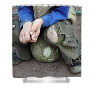 Boy Sitting On Ball - Torn Trousers Shower Curtain