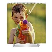 Boy Spraying Water Gun Shower Curtain