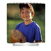 Boy With Baseball Glove Shower Curtain