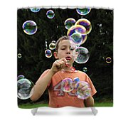 Boy With Colorful Bubbles Shower Curtain by Matthias Hauser