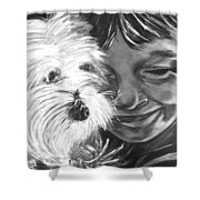 Boy With Pet Dog Shower Curtain