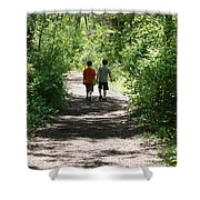Boys Hiking In Woods Shower Curtain