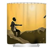 Boys Playing On The Rocks Shower Curtain