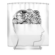 Brain Design By Cogs And Gears Shower Curtain
