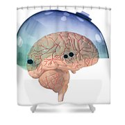 Brain In Skateboard Helmet Shower Curtain
