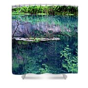Branch And Reflections At Alley Spring State Park Shower Curtain