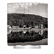 Brant Lake Reflections Black And White Shower Curtain