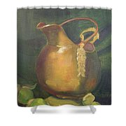 Brass And Tomatillos Shower Curtain