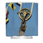Brass Block With Flags Shower Curtain