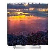 Brasstown Sunset Shower Curtain by Debra and Dave Vanderlaan