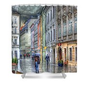 Bratislava Rainy Day In Old Town Shower Curtain