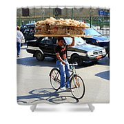 Bread On A Bicycle Shower Curtain