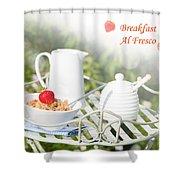 Breakfast Al Fresco Shower Curtain by Amanda Elwell