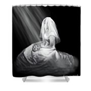 Bride In Cascading Light Shower Curtain