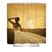 Bride In Yellow Field On Sunset  Shower Curtain
