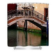 Bridge And Striped Poles Over A Canal In Venice Shower Curtain