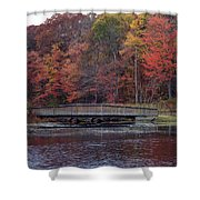 Bridge In Autumn Shower Curtain