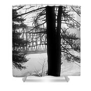 Bridge In The Fog Bw Shower Curtain