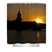 Bridge Sunset Shower Curtain