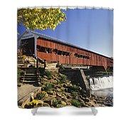 Bridgeton Covered Bridge - Fm000064 Shower Curtain by Daniel Dempster