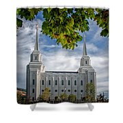 Brigham City Temple Leaves Arch Shower Curtain