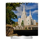 Brigham City Temple Stones Shower Curtain