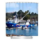 Bright Blue Fishing Ship Shower Curtain