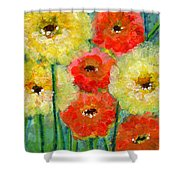Bright Colored Flowers Shine Shower Curtain