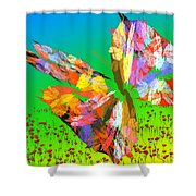 Bright Elusive Butterflys Of Love Shower Curtain