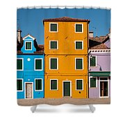 Brightly Painted Houses Of Burano Shower Curtain