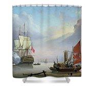 British Man-o'-war Off The Coast Shower Curtain