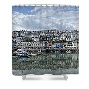 Brixham Harbour - Panorama Shower Curtain