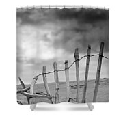 Broken Fence In Dune, South Shields Shower Curtain by John Short