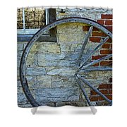 Broken Wagon Wheel Against The Wall Shower Curtain