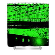 Brooklyn Bridge In Green Shower Curtain