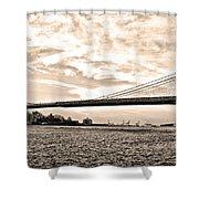 Brooklyn Bridge In Sepia Shower Curtain