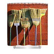 Brooms Leaning Against Wall Shower Curtain
