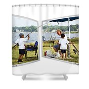 Brothers Fishing - Oof Shower Curtain