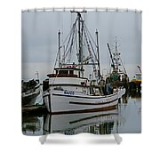 Brown And White Fish Boat Shower Curtain