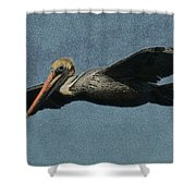 Brown Pelican Painterly Shower Curtain