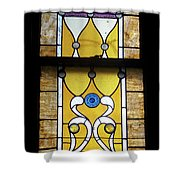 Brown Stained Glass Window Shower Curtain