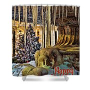 Bryant Park Fountain Holiday Shower Curtain