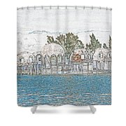 Bubble House In Pencil Skech Shower Curtain