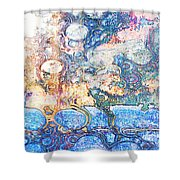 Bubbles Abstract Shower Curtain
