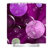 Bubbles And Moons - Purple Abstract Shower Curtain
